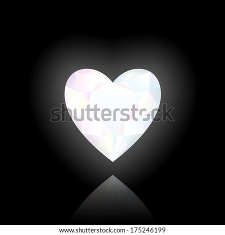 Finely polished crystal in the shape of a heart. Black background. - stock vector
