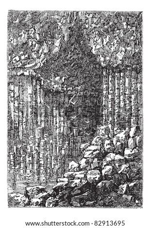 Fingal's Cave in Staffa, Scotland, United Kingdom, during the 1890s, vintage engraving. Old engraved illustration of the entrance to Fingal's Cave. Trousset encyclopedia (1886 - 1891).