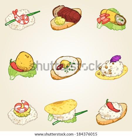 finger foods set - stock vector