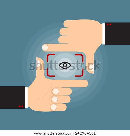 finger frame action vector for focus, vision, target, looking or pointing concept.  - stock vector