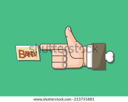 Finger Gun with bang flag - stock vector