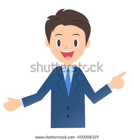 Finger pointing and explaining to businessman, male company employee of illustration material