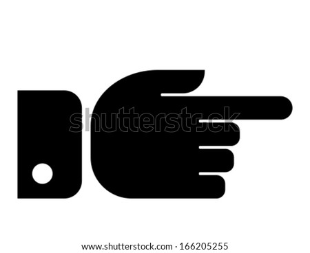 Finger pointing aside vector icon - stock vector