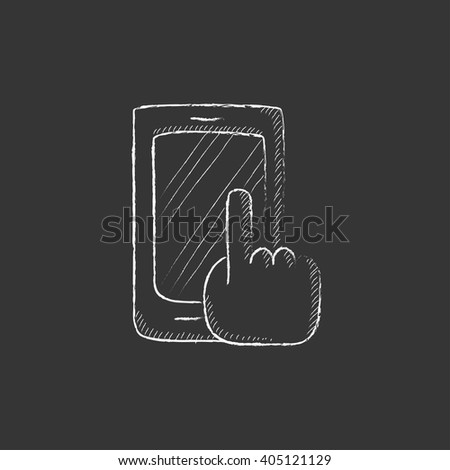 Finger pointing at smart phone. Drawn in chalk icon. - stock vector