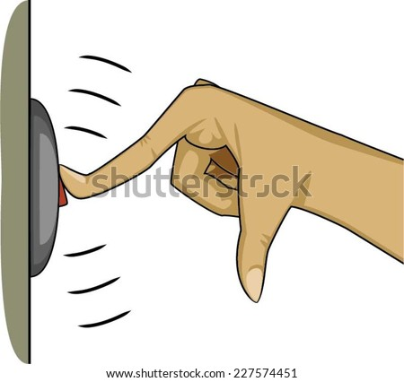 Finger pressing a button to ring the bell