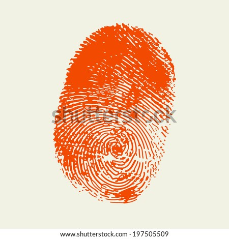 Finger print . Red color. Vector. - stock vector