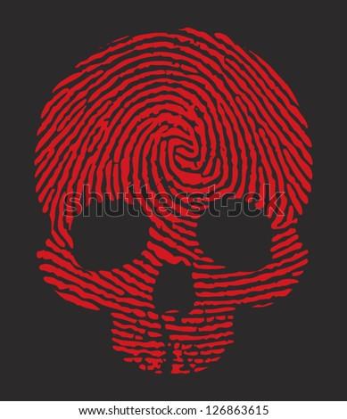 finger print skull - stock vector