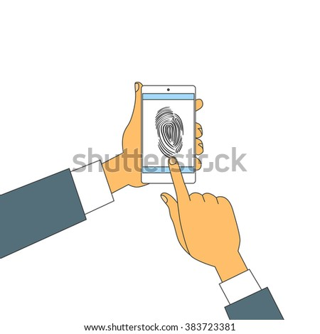 Finger Print Smart Phone Access Lock, Business Man Touch Screen Fingerprint Hands Scan Security Vector Illustration - stock vector