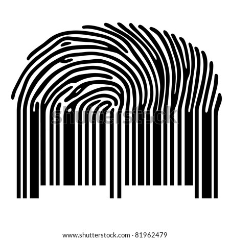 finger print with barcode - stock vector