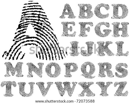 Fingerprint Alphabet (Highly detailed Letter - transparent so can be overlaid onto other graphics) - stock vector