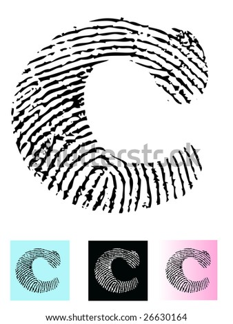 Fingerprint Alphabet Letter C (Highly detailed Letter - transparent so can be overlaid onto other graphics) - stock vector
