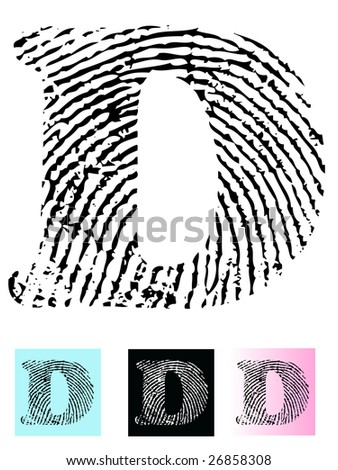 Fingerprint Alphabet Letter D (Highly detailed Letter - transparent so can be overlaid onto other graphics) - stock vector