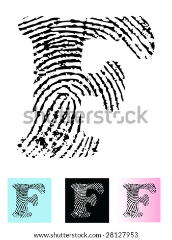 Fingerprint Alphabet Letter F (Highly detailed Letter - transparent so can be overlaid onto other graphics) - stock vector