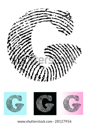 Fingerprint Alphabet Letter G (Highly detailed Letter - transparent so can be overlaid onto other graphics) - stock vector