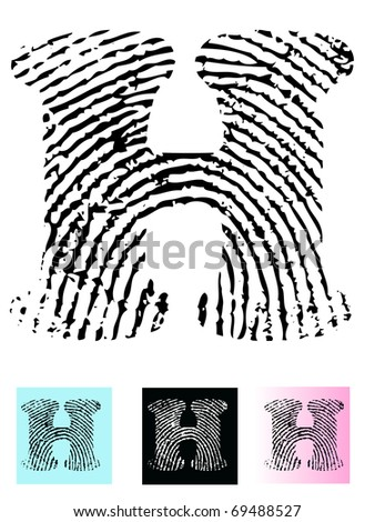 Fingerprint Alphabet Letter H (Highly detailed Letter - transparent so can be overlaid onto other graphics) - stock vector