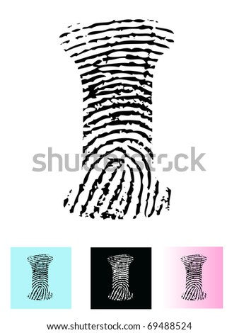 Fingerprint Alphabet Letter I (Highly detailed Letter - transparent so can be overlaid onto other graphics) - stock vector