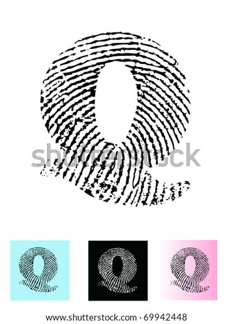 Fingerprint Alphabet Letter Q (Highly detailed Letter - transparent so can be overlaid onto other graphics) - stock vector