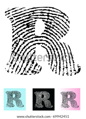Fingerprint Alphabet Letter R (Highly detailed Letter - transparent so can be overlaid onto other graphics) - stock vector