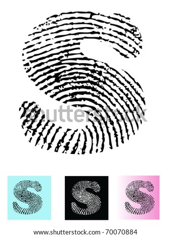 Fingerprint Alphabet Letter S (Highly detailed Letter - transparent so can be overlaid onto other graphics) - stock vector