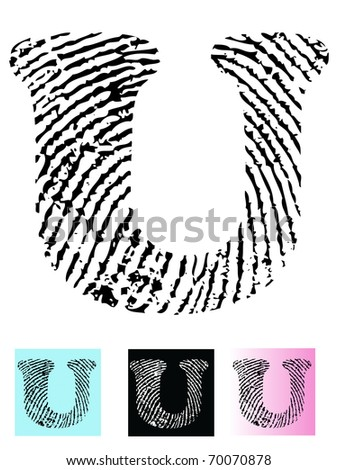 Fingerprint Alphabet Letter U (Highly detailed Letter - transparent so can be overlaid onto other graphics) - stock vector
