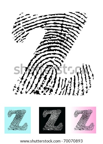Fingerprint Alphabet Letter Z (Highly detailed Letter - transparent so can be overlaid onto other graphics) - stock vector