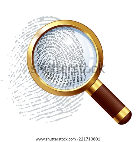 Fingerprint and magnifying glass. Eps8. CMYK. Organized by layers. Global colors. Gradients used. - stock vector