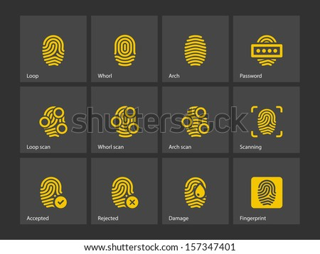 Fingerprint and thumbprint icons. Vector illustration. - stock vector