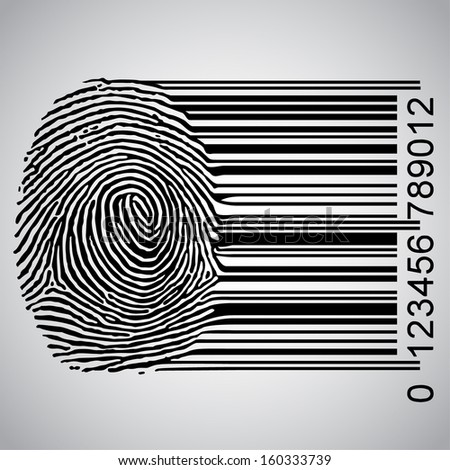 Fingerprint becoming barcode vector illustration - stock vector