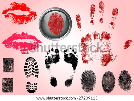 Fingerprint Footprints and Lips - Very accurately scanned and traced ( Vectors are transparent so it can be overlaid on other images, vectors etc.) - stock vector