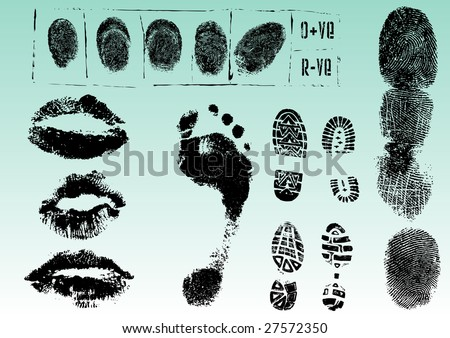 Fingerprint Footprints and Lips 2 - Very accurately scanned and traced ( Vectors are transparent so it can be overlaid on other images, vectors etc.) - stock vector