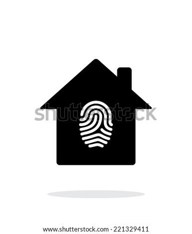 Fingerprint hone secure icon on white background. Vector illustration. - stock vector