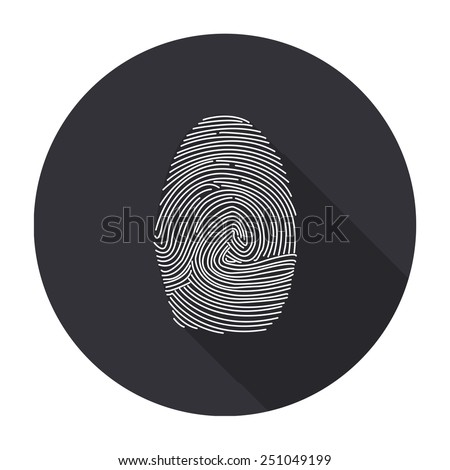 fingerprint icon with long shadow - vector round button
