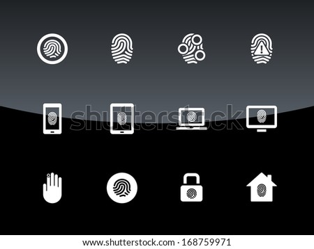 Fingerprint icons on black background. Vector illustration. - stock vector