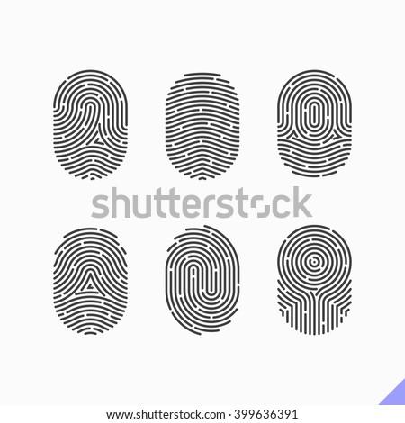 Fingerprint icons set. Vector. - stock vector