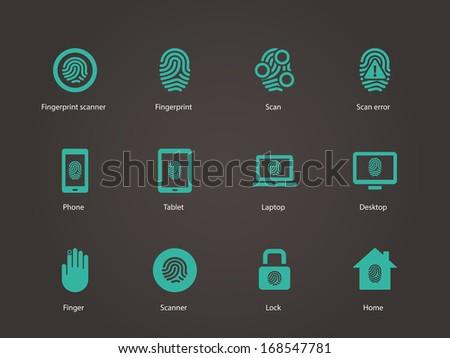 Fingerprint icons. Vector illustration. - stock vector