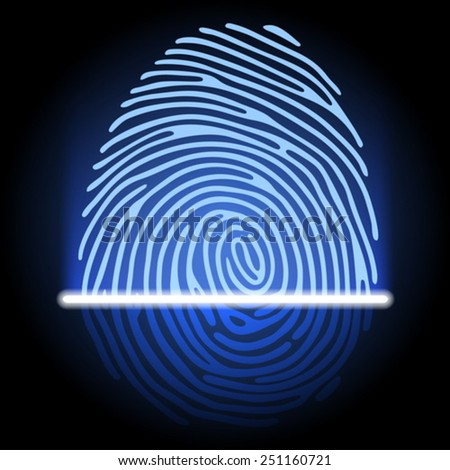 fingerprint identification system - stock vector
