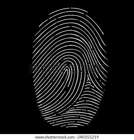 fingerprint isolated on a black background - stock vector