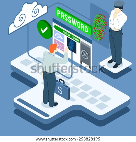 Fingerprint Lock Screen Authentication Biometric Face Recognition. Access Allowed Secure Data Access.3D Isometric Web Internet Secure Authentication Infographic.Security Icon Vector Illustration - stock vector