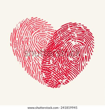 Fingerprint Love Heart - stock vector