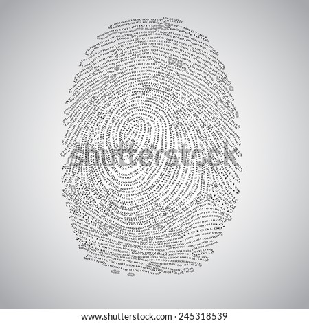 Fingerprint made by binary code, vector - stock vector