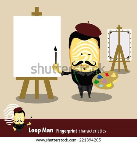 Fingerprint Man Characteristics Series. Artist Painter Holding A Brush And Palette. - stock vector