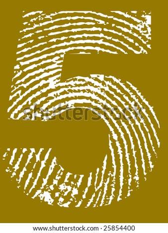 Fingerprint Number - 5 (Highly detailed grunge Number) - stock vector