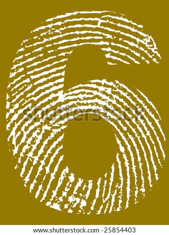 Fingerprint Number - 6 (Highly detailed grunge Number) - stock vector