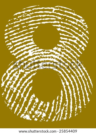 Fingerprint Number - 8 (Highly detailed grunge Number) - stock vector