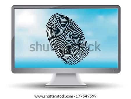 Fingerprint on the computer monitor - stock vector