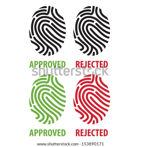 Fingerprint or thumbprint icon set - stock vector