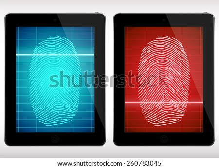 Fingerprint Scanning on Tablet - Illustration. - stock vector