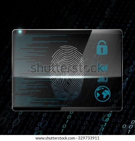 Fingerprint scanning. Technology background. Stock vector illustration. - stock vector