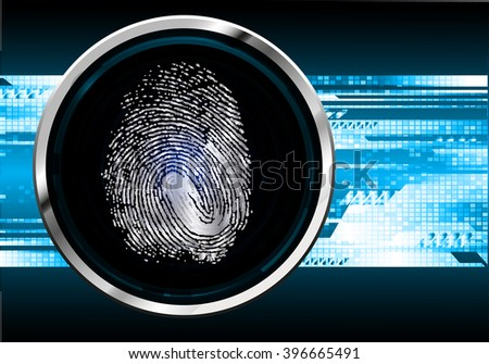 Fingerprint Scanning Technology Concept Illustration. Fingerprint Searching Software. Identity Check. cyber online tech background, hand. - stock vector