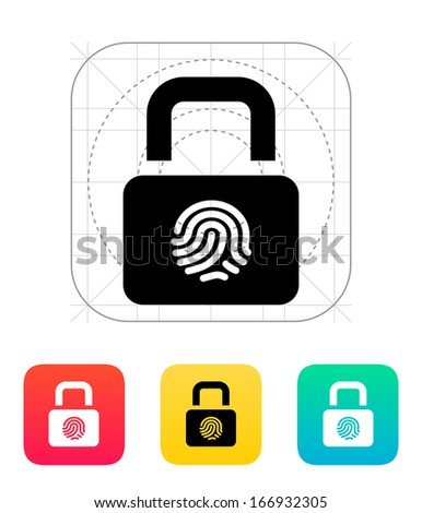 Fingerprint secure lock icon. Vector illustration. - stock vector